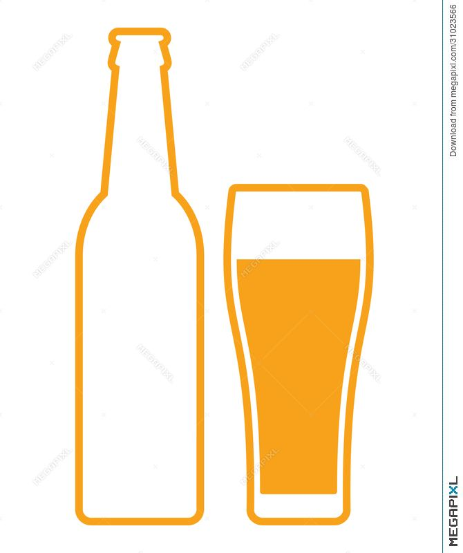 Bottle and glass clip. Clipart beer bottel