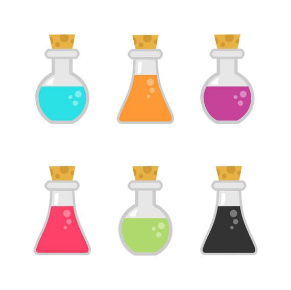 Potion bottles clip art. Chemistry clipart bottle