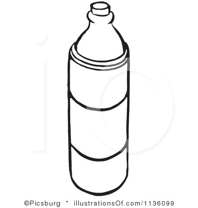Water coloring panda free. Bottle clipart colouring page