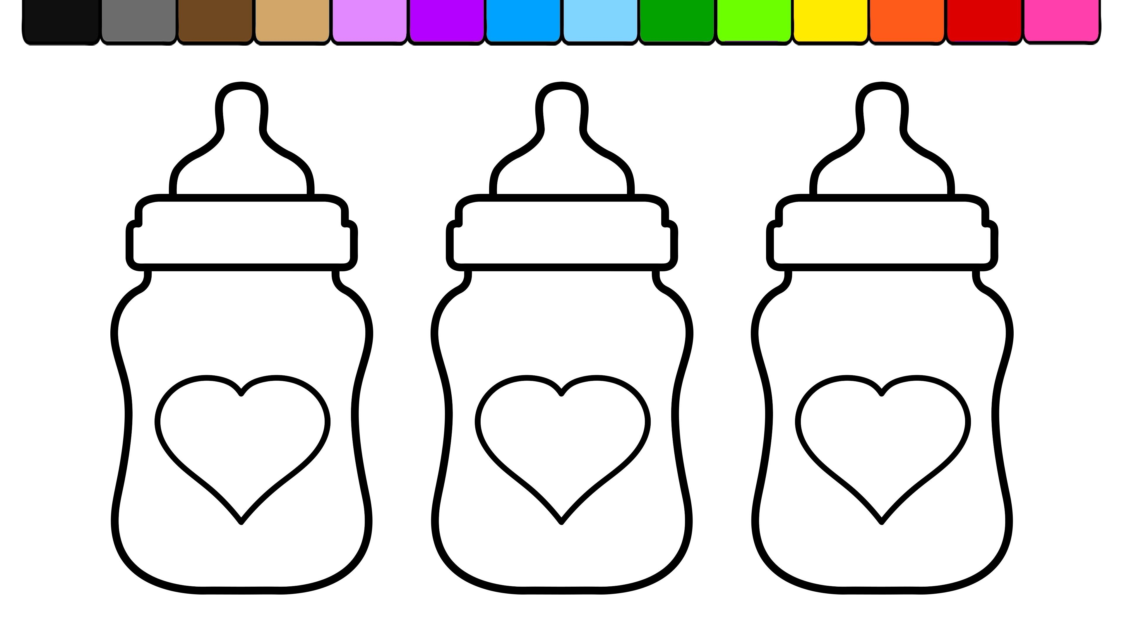 Bottle clipart colouring page. Baby coloring bottles