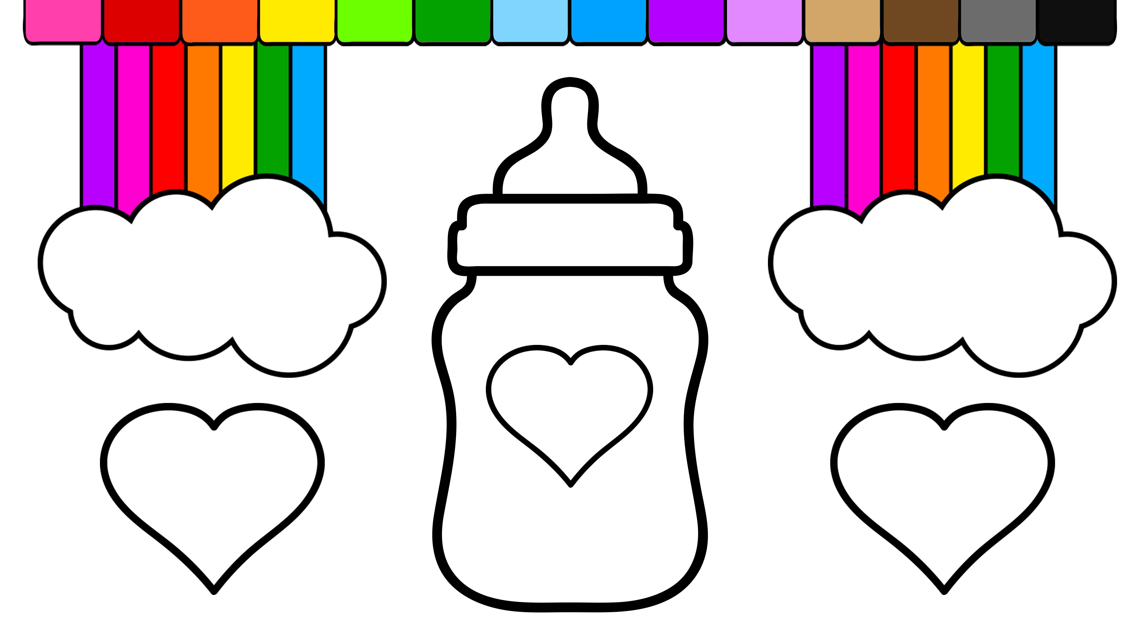 Learn colors for kids. Bottle clipart colouring page