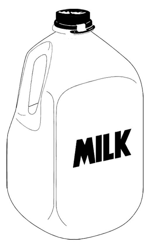 Bottle clipart colouring page. A gallon milk coloring