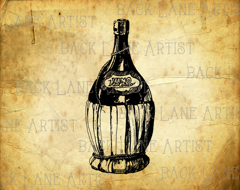 Bottle clipart drawing. Vintage champagne wine lineart