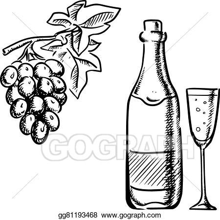 Vector art wine glass. Bottle clipart drawing