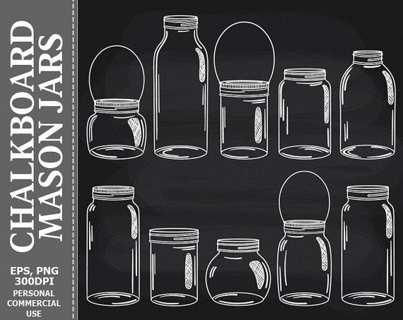 Chalkboard clipart mason jar. Clip art jars glass