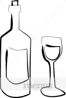 Wine tasting. Bottle clipart line drawing