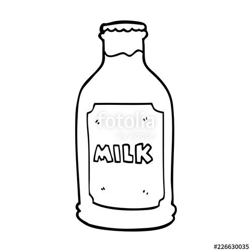 Cartoon milk stock image. Bottle clipart line drawing