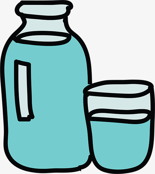 Hand painted boiled water. Bottle clipart plain