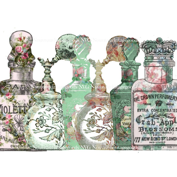 Vintage digital shabby perfume. Bottle clipart printable