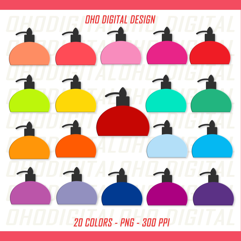 Perfume colorful rainbow color. Bottle clipart printable