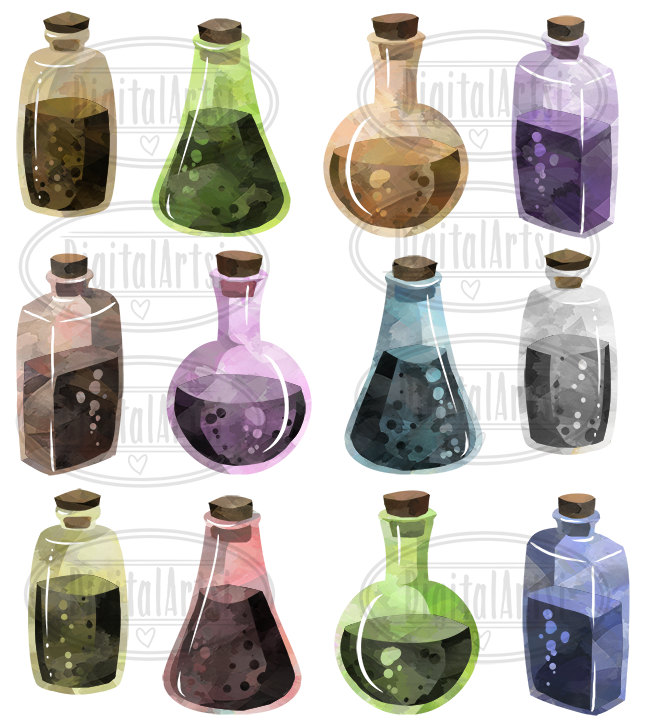 Watercolor earthy potions old. Bottle clipart science