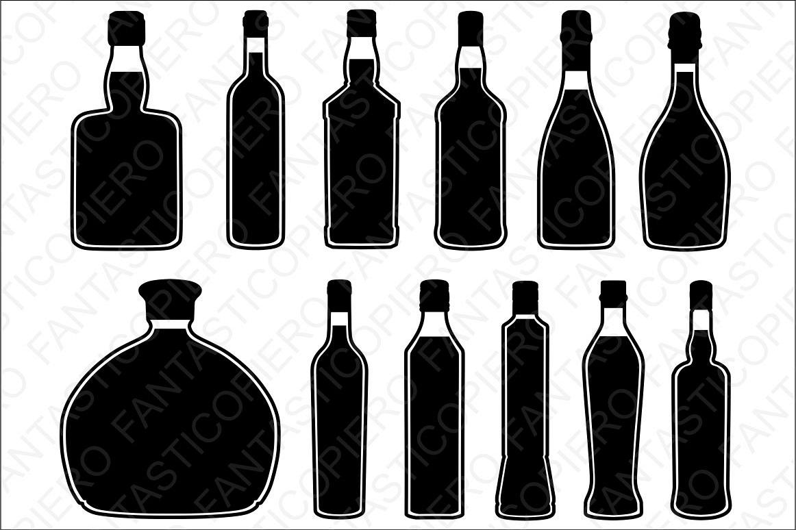 Bottles svg files for. Champaign clipart wine spirit