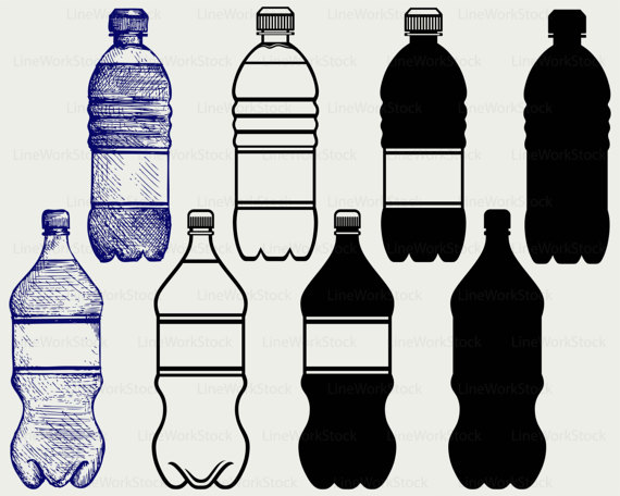 Plastic water svg drink. Bottle clipart silhouette
