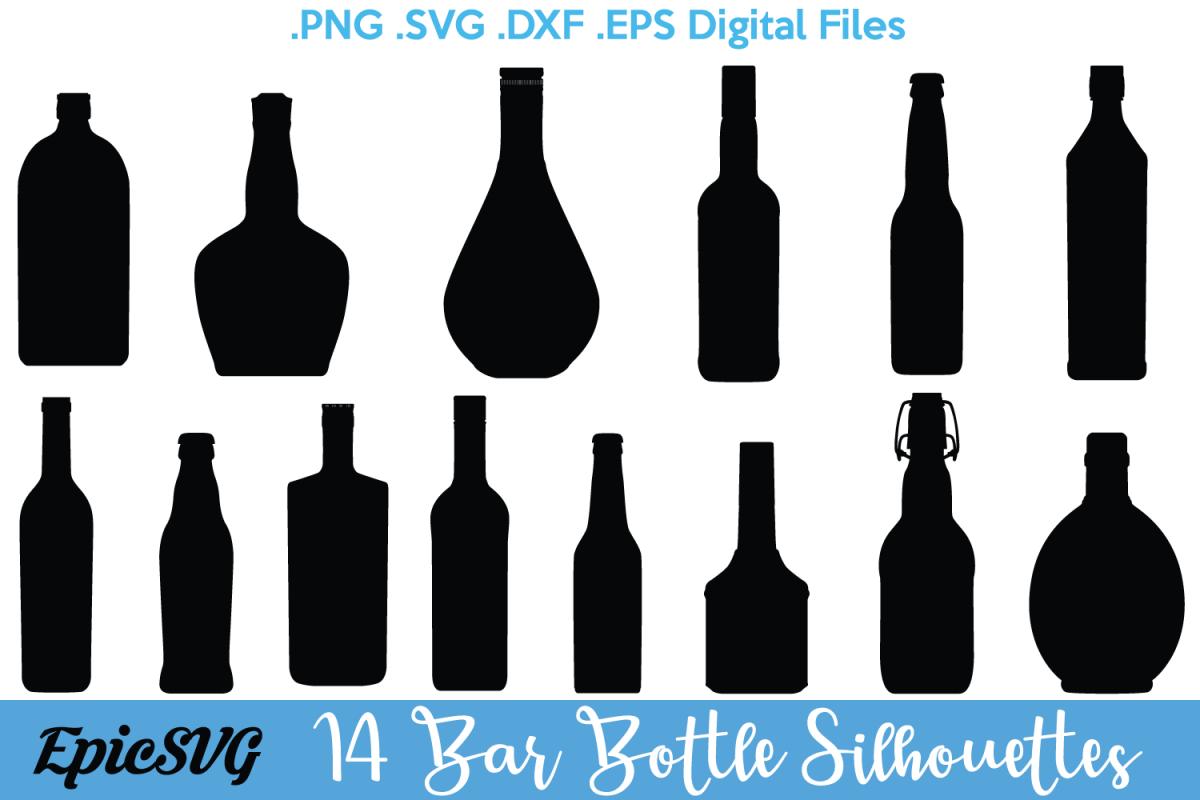 Bar bottles svg dxf. Bottle clipart silhouette