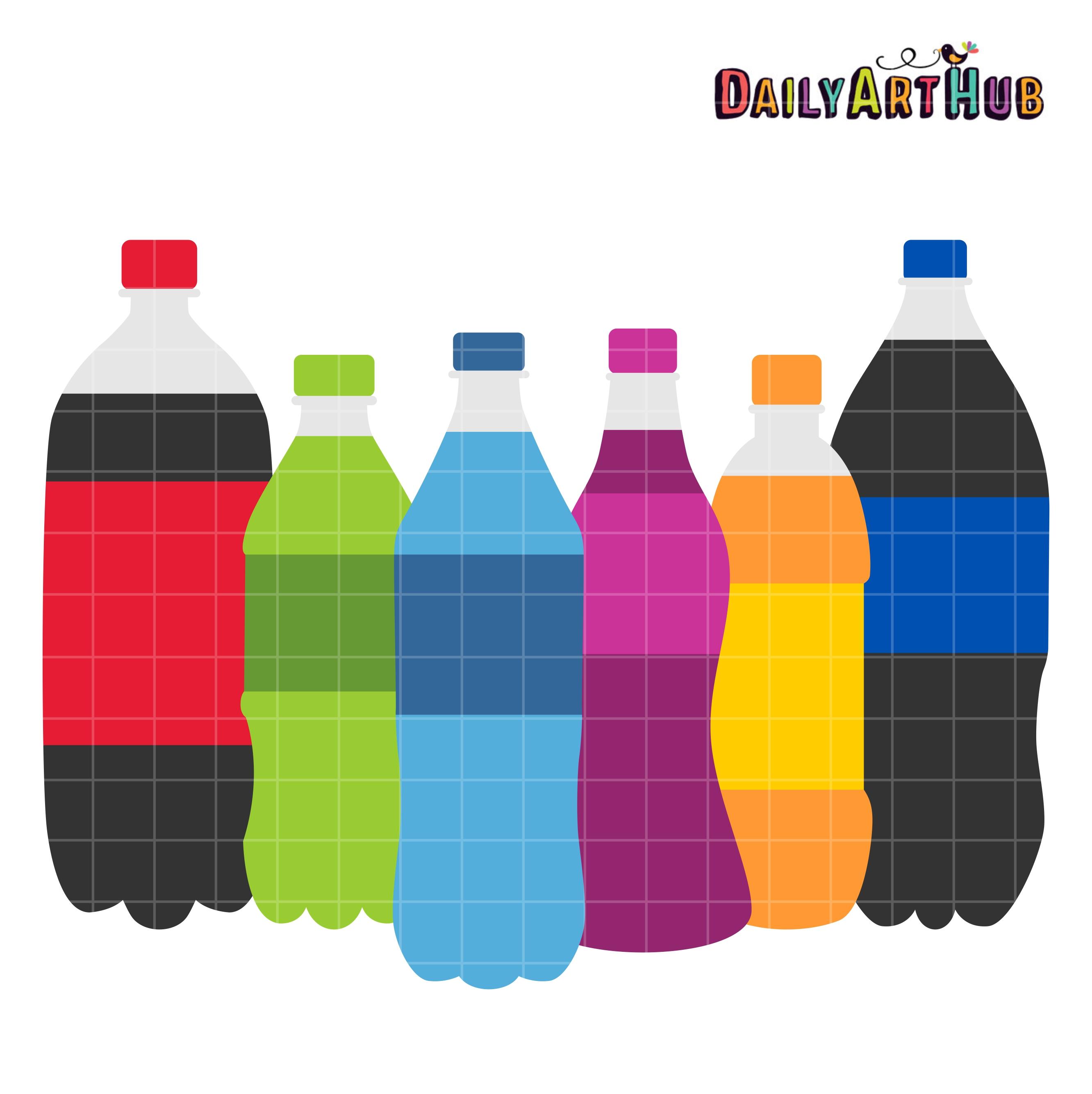 Bottle clipart soda bottle. Bottles clip art set