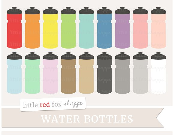 Bottle clipart water bottle. Illustrations creative market