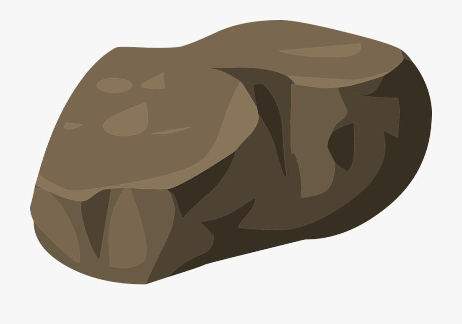 Beach rock stone cartoon. Boulder clipart