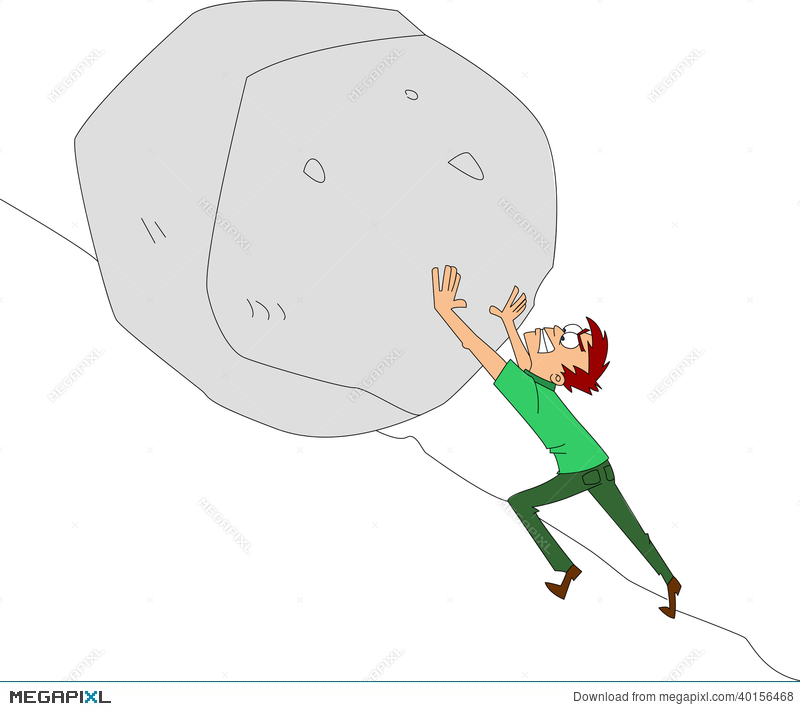 Man pushing uphill illustration. Boulder clipart animated