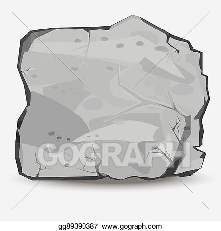 Vector art stone drawing. Boulder clipart big rock