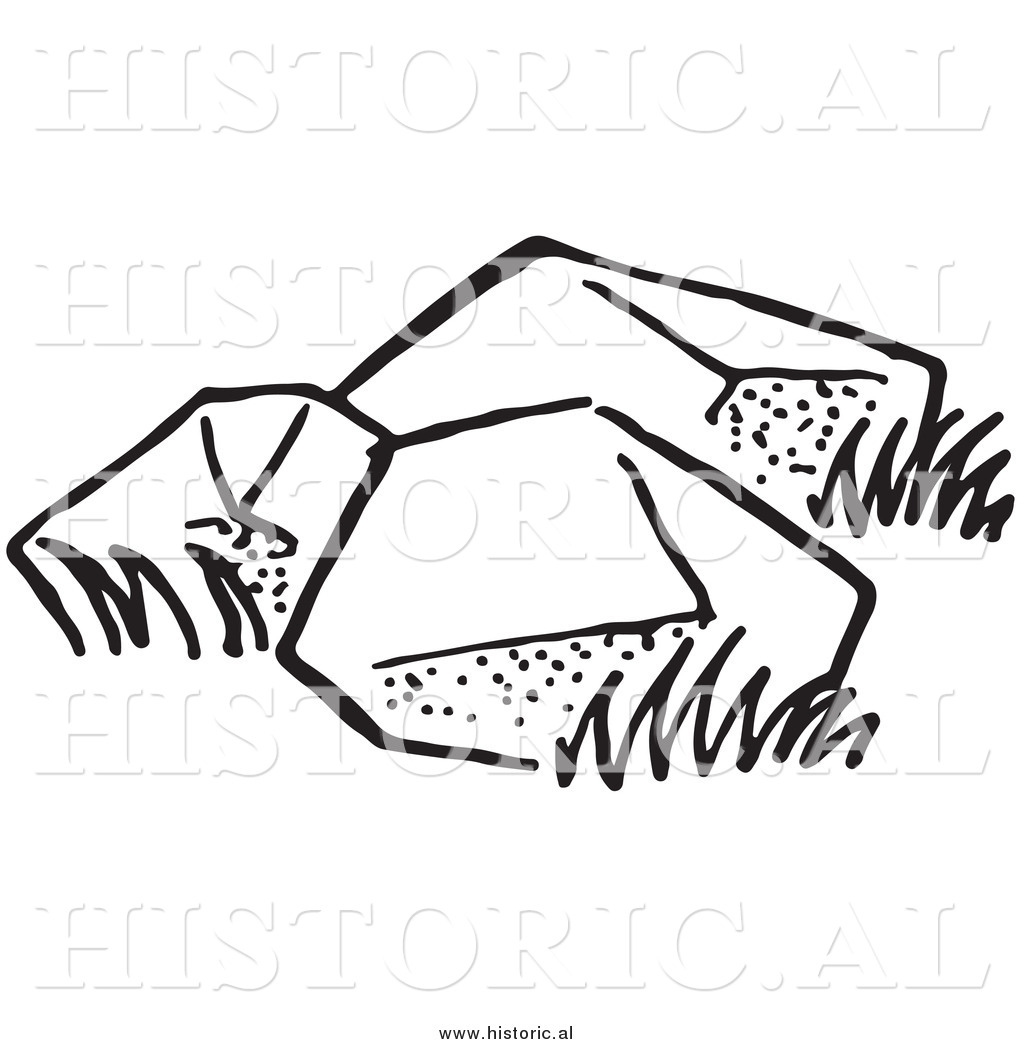 boulder clipart black and white