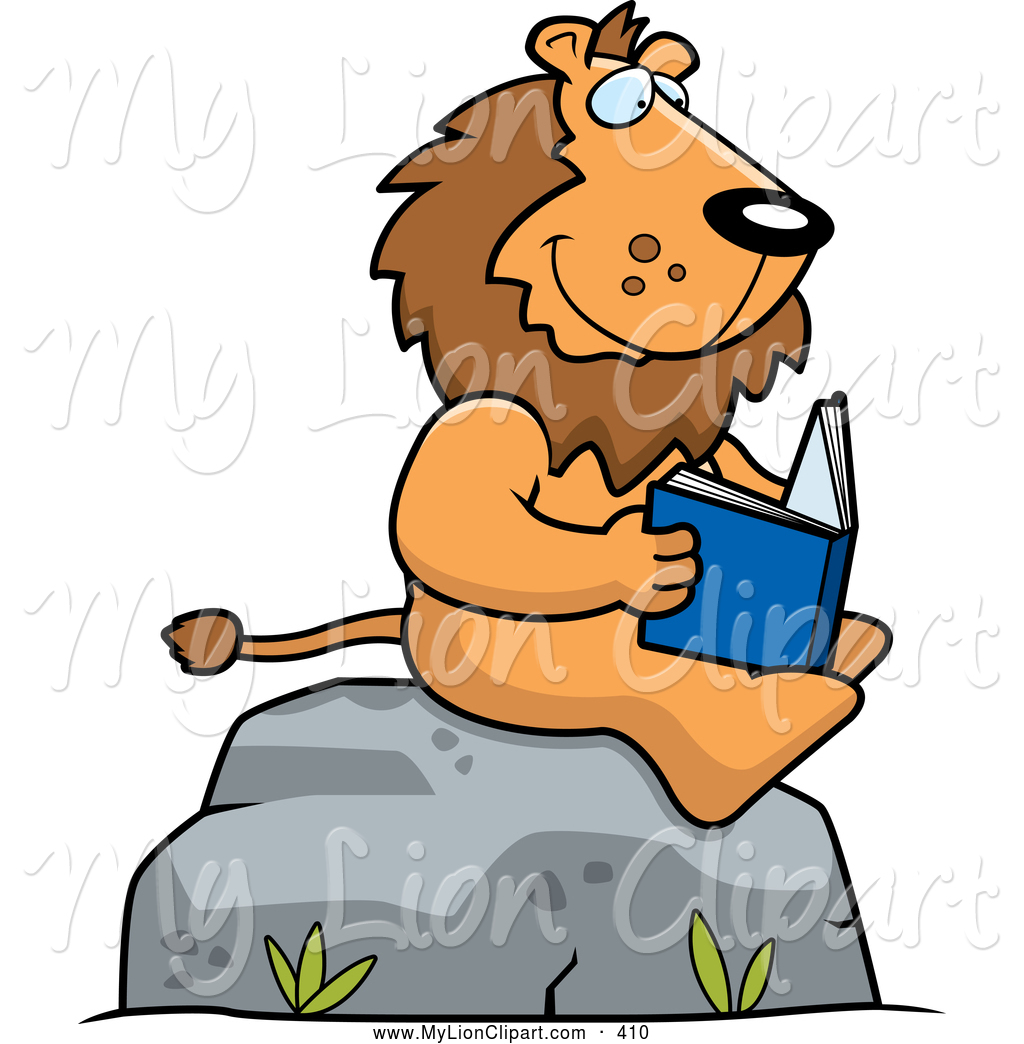 Boulder clipart cute. Of a lion reading
