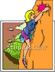 Boulder clipart cute. Blond woman climbing royalty