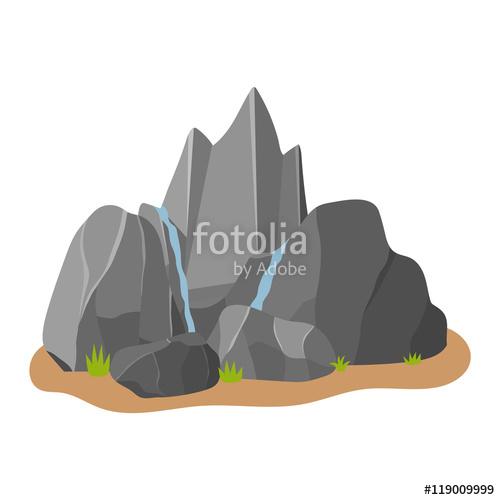 Stones rocks in cartoon. Boulder clipart heavy object