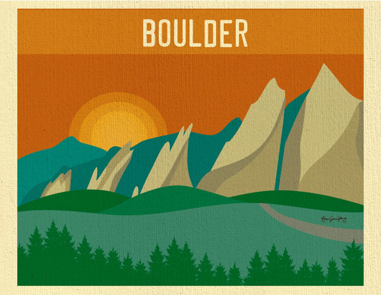 Flatirons collection flat irons. Boulder clipart illustration
