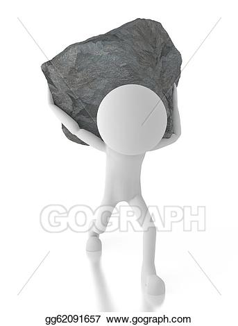 Clipart - 3d person carrying a big rock on his back. Stock ...