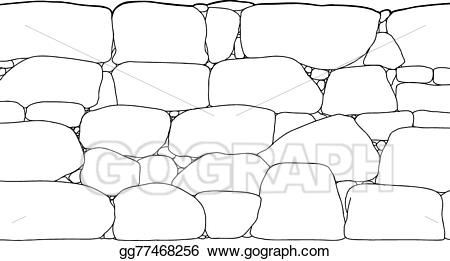 Vector art rock wall. Boulder clipart outline