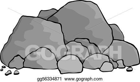 Boulder clipart pile rock. Eps vector boulders stock