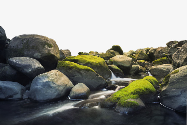 Boulder clipart scenery. River stone oval moss