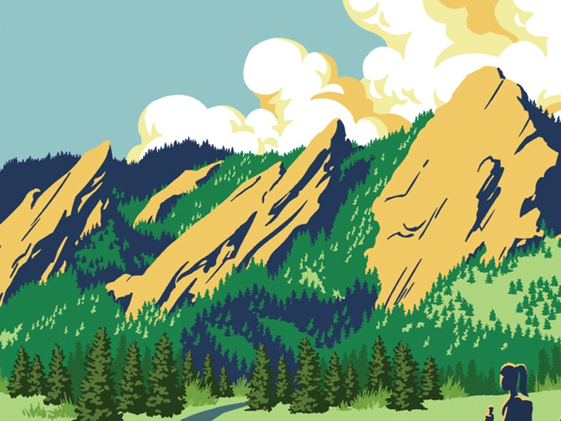 Boulder clipart scenery. Pencil and in color