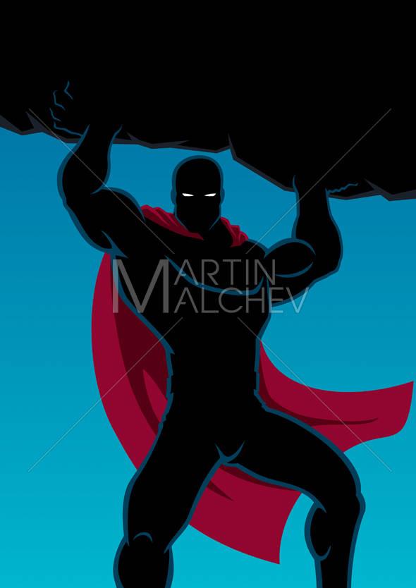 Superhero lifting vector cartoon. Boulder clipart silhouette