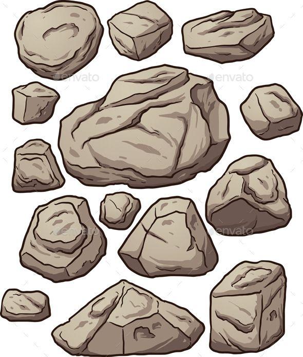 Boulder clipart small rock. Cartoon boulders rocks and