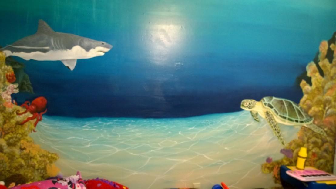 Boulder clipart underwater. Ocean scene turtle shark