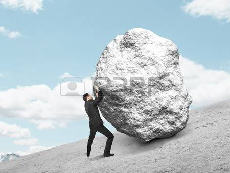Boulder clipart uphill. Large pencil and in