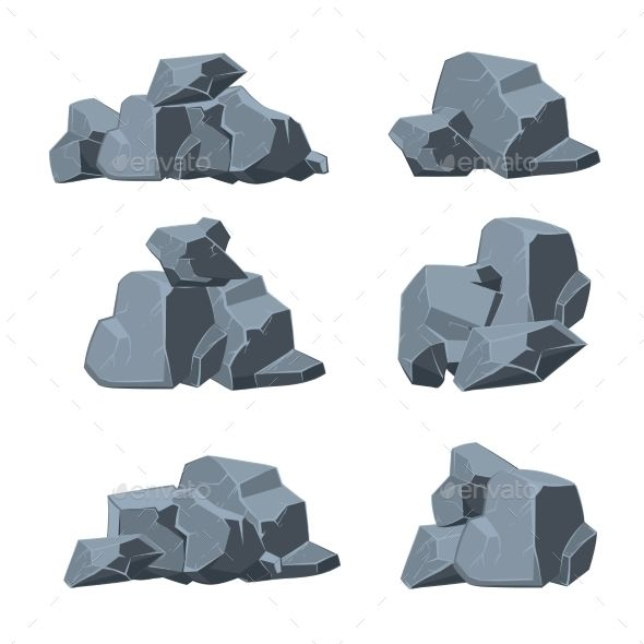 Cartoon stones set stone. Boulder clipart vector