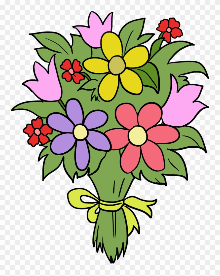 Bouquet clipart. Fun flower drawing easy