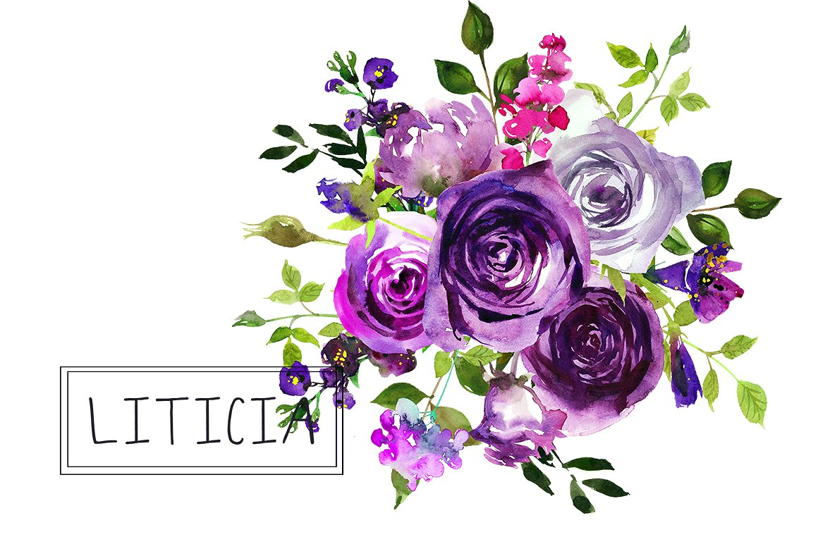 Bouquet clipart 4 flower. Purple flowers watercolor bouquets