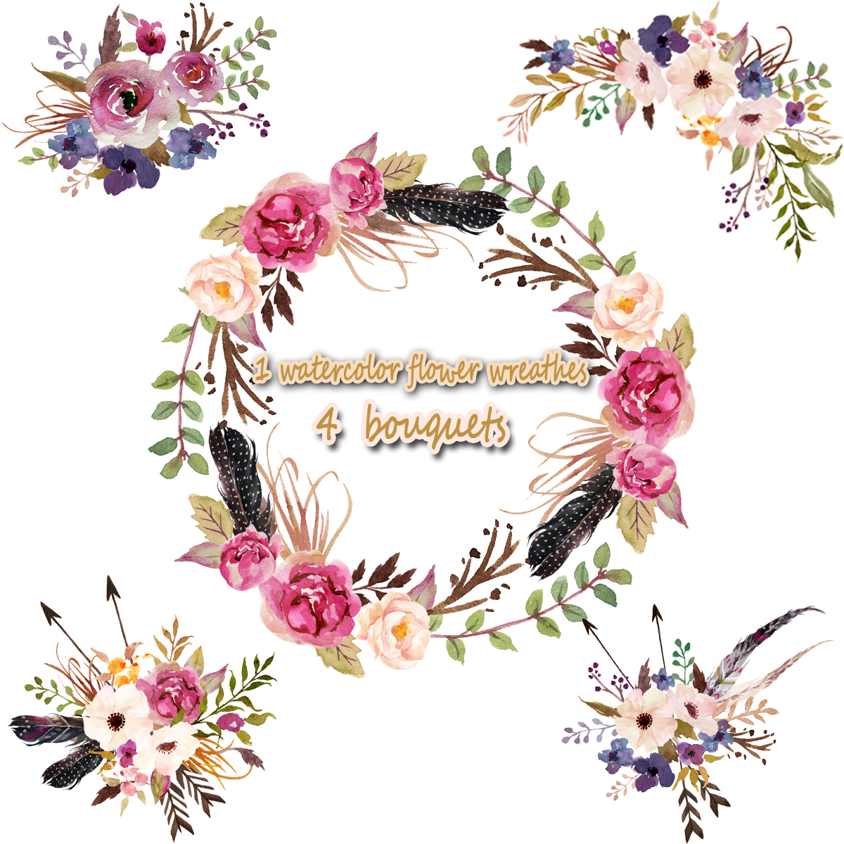 watercolor wreathes floral. Bouquet clipart 4 flower