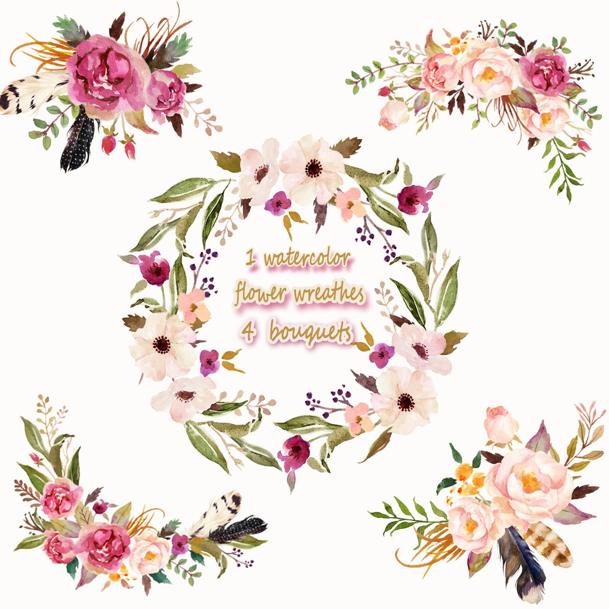 usd watercolor wreathes. Bouquet clipart 4 flower