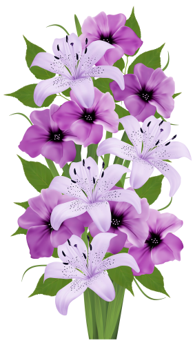 Bouquet clipart 4 flower. Purple decorative png kwiaty
