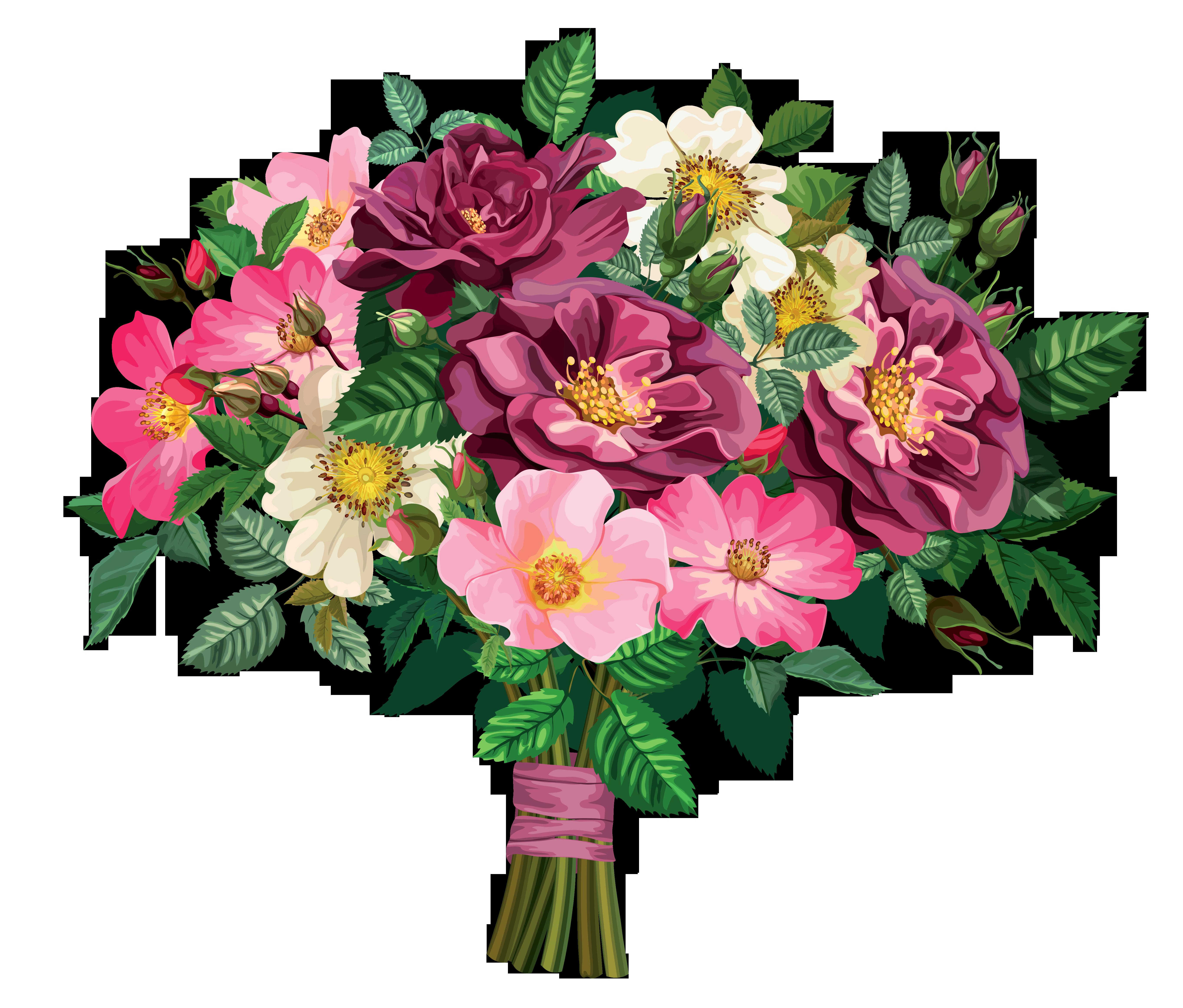 Floral design drawing clip. Bouquet clipart 4 flower