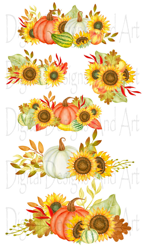 Watercolor fall wreaths hand. Bouquet clipart autumn