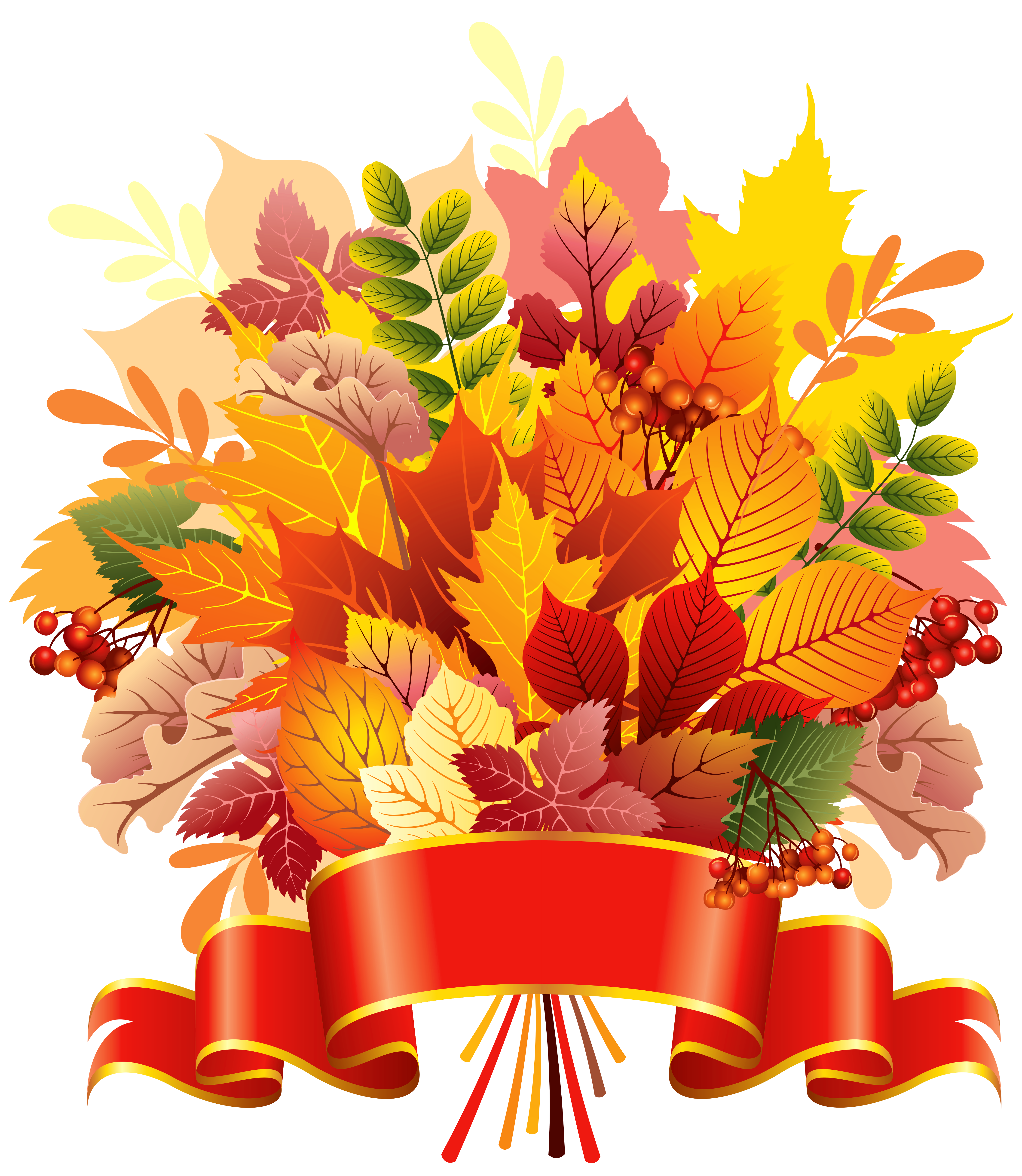 Leaves with banner png. Bouquet clipart autumn