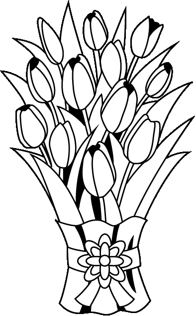 Flower outline clipartuse. Bouquet clipart black and white
