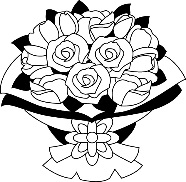 Rose letters art inside. Bouquet clipart black and white