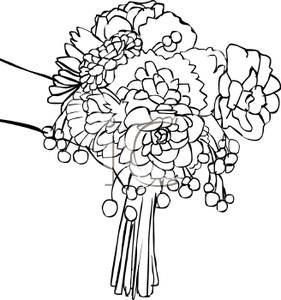 Bridal free download. Bouquet clipart black and white