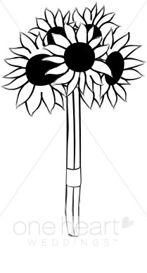 Bouquet clipart black and white. Sunflowers flower